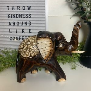 Hand Carved + Painted Wooden Elephant